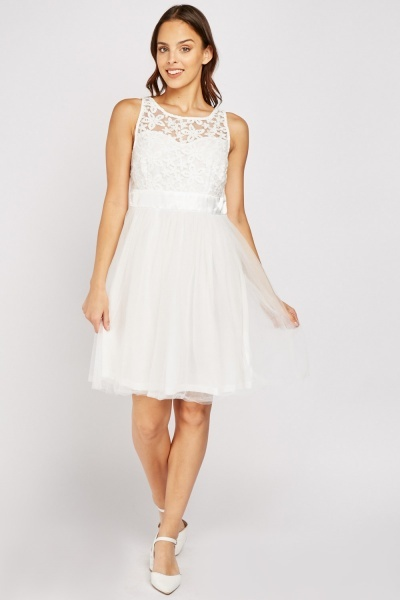 Embroidered Bodice Mesh Skater Dress