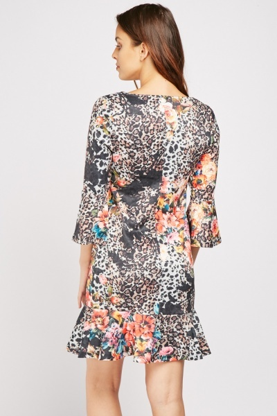 Floral Leopard Print Shift Dress