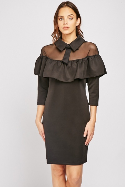 Frilly Mesh Panel Dress