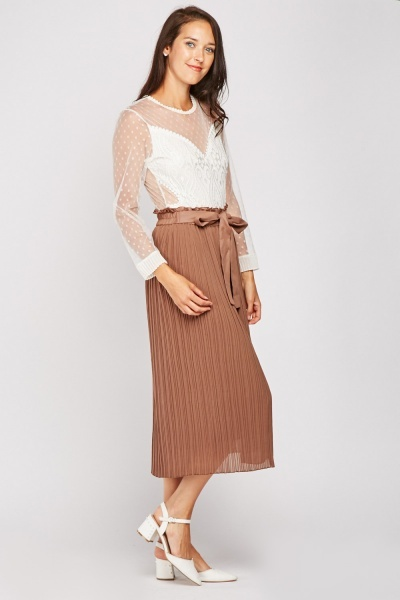 Pleated Midi Sheer Skirt