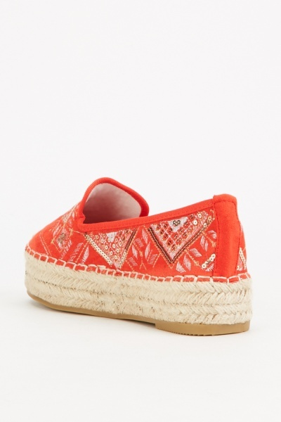 Embroidered Platform Espadrille Shoes
