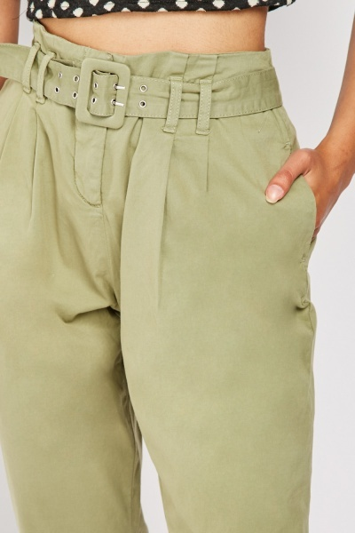 High Waist Chino Trousers