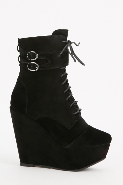 Lace Up Wedge Platform Boots