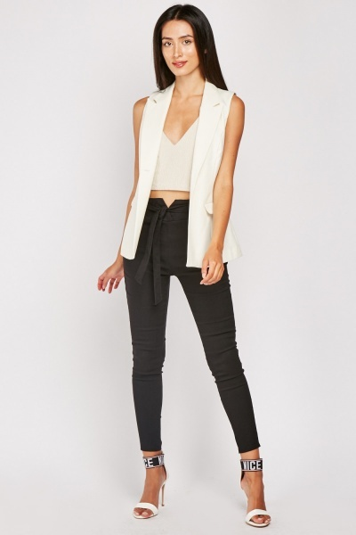 Tie Up High Waisted Skinny Trousers