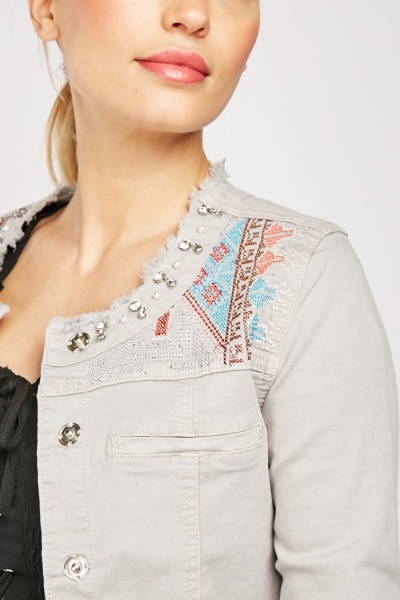 Encrusted Aztec Pattern Jacket