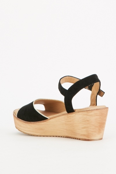 Laser Cut Open Toe Wedge Sandals