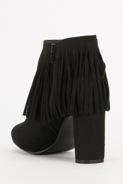 Suedette Fringed Heeled Boots