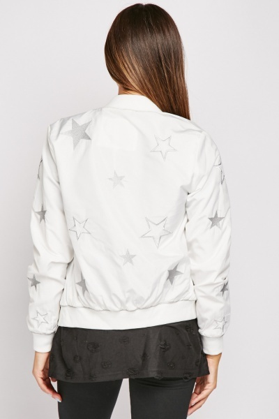 Star Embroidered Bomber Jacket