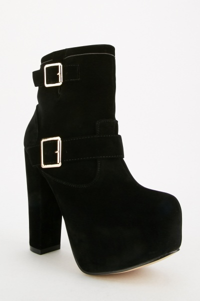 Twin Buckled Platform Boots