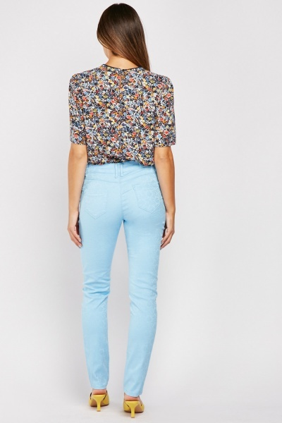 Slim Fit Stitched Pattern Trousers