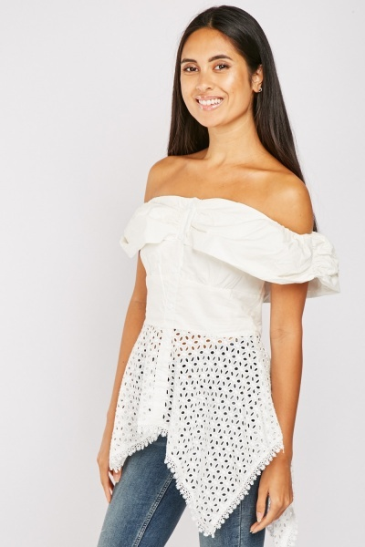 Off Shoulder Broderie Anglaise Top