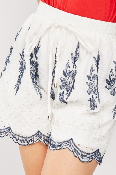Embroidered Scallop Hem Shorts