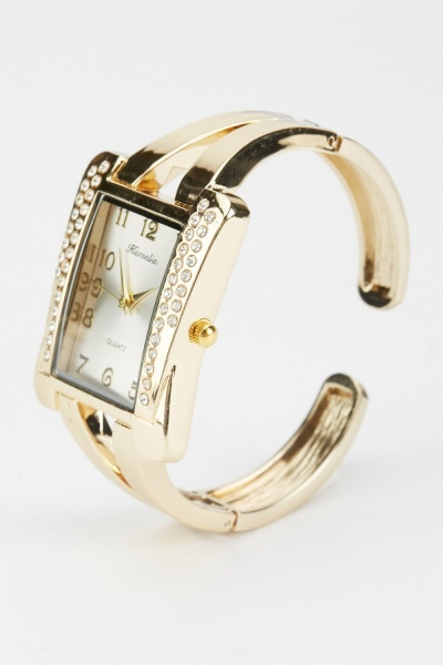 Diamante Encrusted Sqaure Face Watch