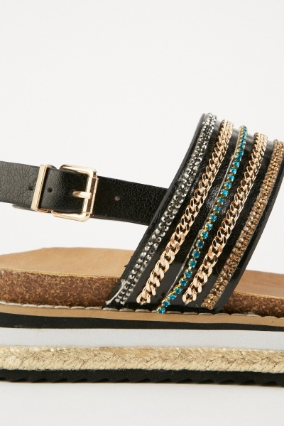 Embellished Contrasted Slingback Sandals