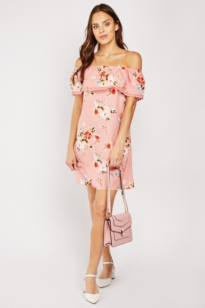 Rose Print Off Shoulder Mini Dress