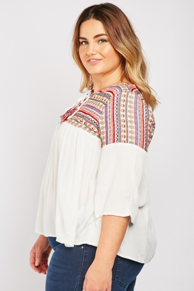 Embroidered Jacquard Pattern Blouse