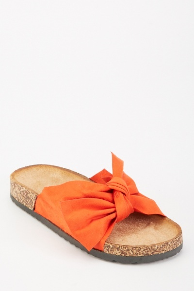 Bow Front Suedette Sandals