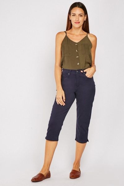Straight Fit Crop Trousers