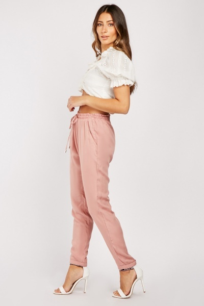 Drawstring Waist Lightweight Trousers