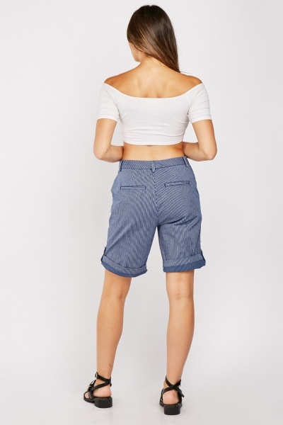 Pin Stripe Long Line Shorts