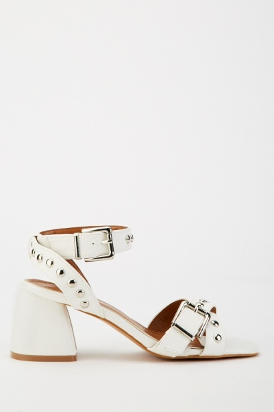 Studded Buckle Strap Heels