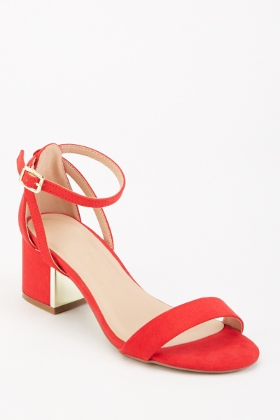 Block Heel Suedette Sandals