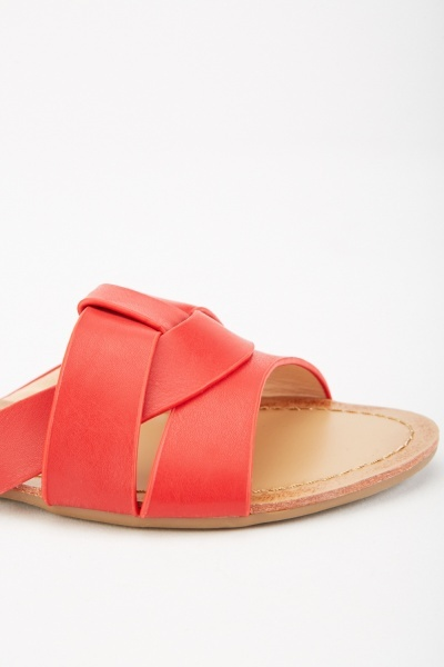 Faux Leather Flat Sandals