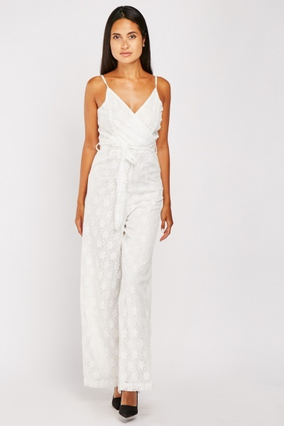 Lace Overlay Wrap Jumpsuit