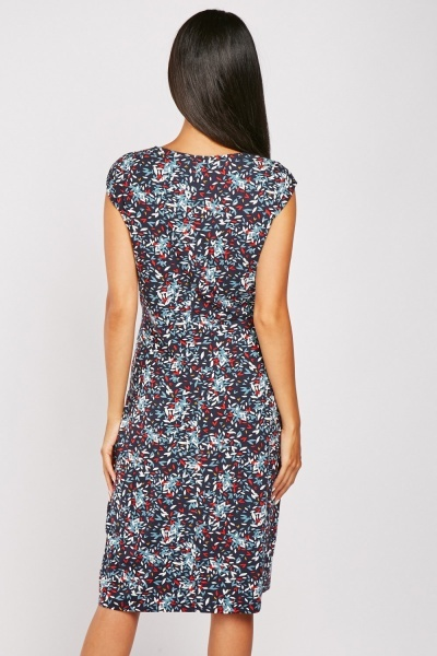 Printed Draped Midi Dress