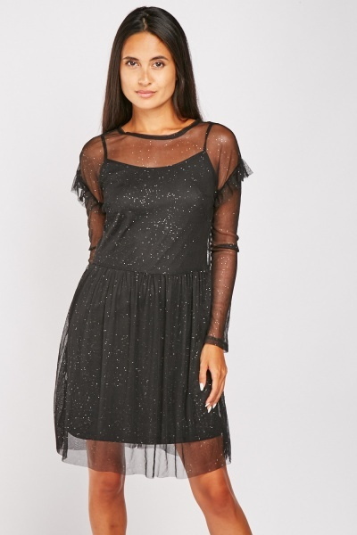 Shimmery Mesh Overlay Skater Dress