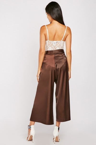 Wrap Front Silky Crop Trousers