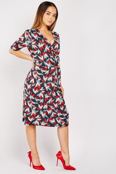 3/4 Sleeve Length Printed Midi Dress