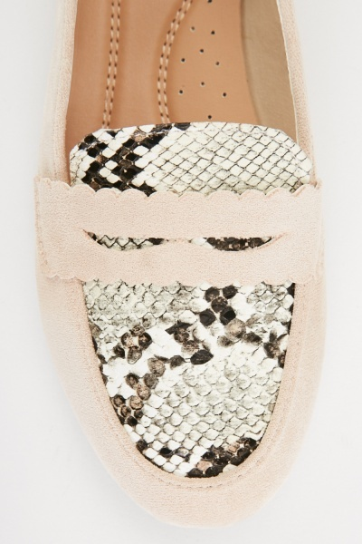 Python-Skin Detail Loafers