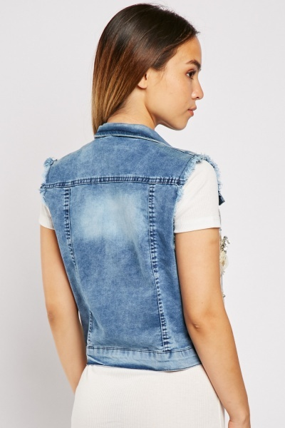 3D Embroidered Denim Gilet