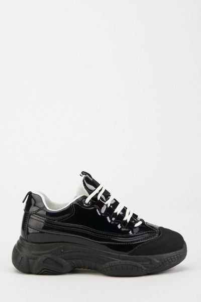 Lace Up Chunky Vinyl Trainers