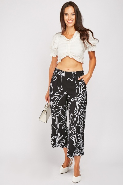 Line Art Print Crop Trousers