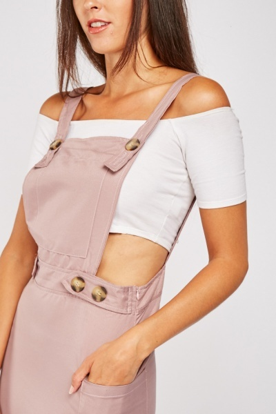 Pouch Pocket Front Pinafore Dress