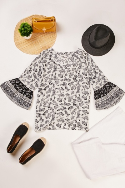 Printed Flare Sleeve V-Neck Top