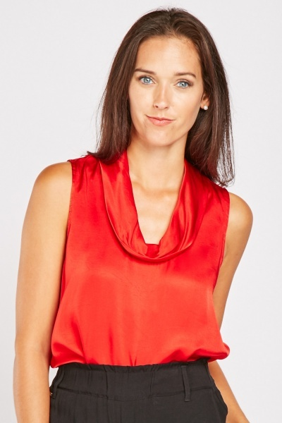 Cowl Neck Silky Top