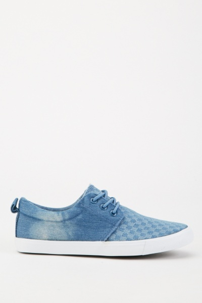 Mens Grid Check Denim Plimsolls