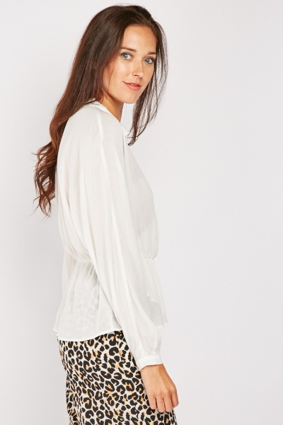 Tie Up Sheer Wrap Blouse