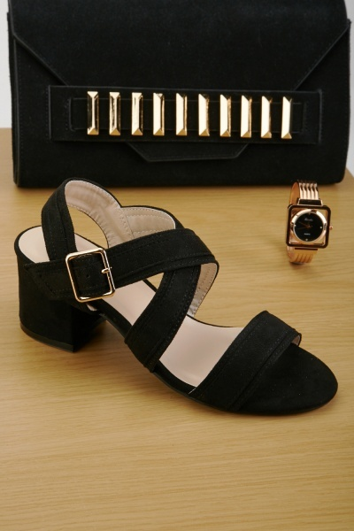 Cross-Strap Mid Block Heel Sandals