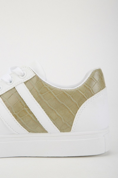 Lace Up Mock Croc Panel Trainers