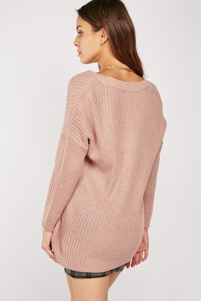 Chunky V-Neck Herringbone Knit Jumper