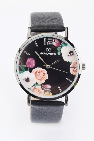 Rose Print Dial Watch