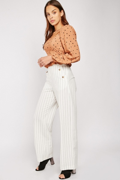 Striped Decorative Button Front Trousers