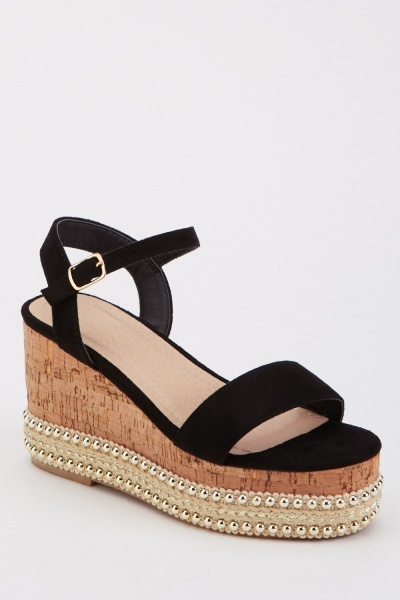 Cork Embellished Wedge Sandals