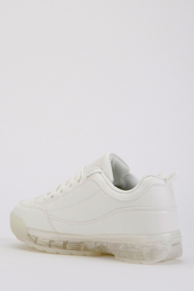Transparent Heel Textured Trainers