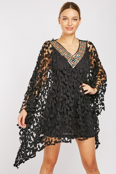 Embroidered Neck Laser Cut Beach Coverup