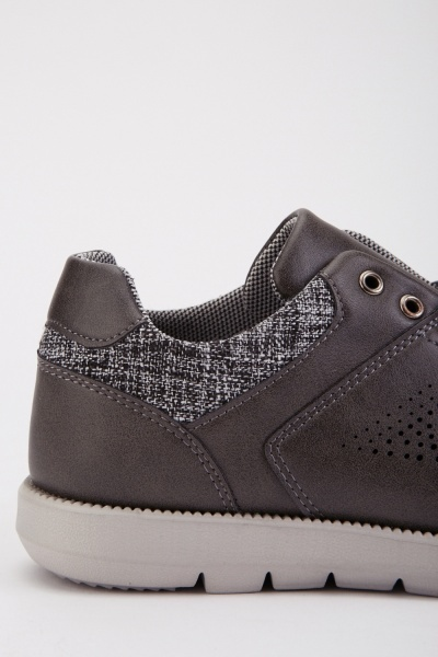 Mens Faux Leather Trainers